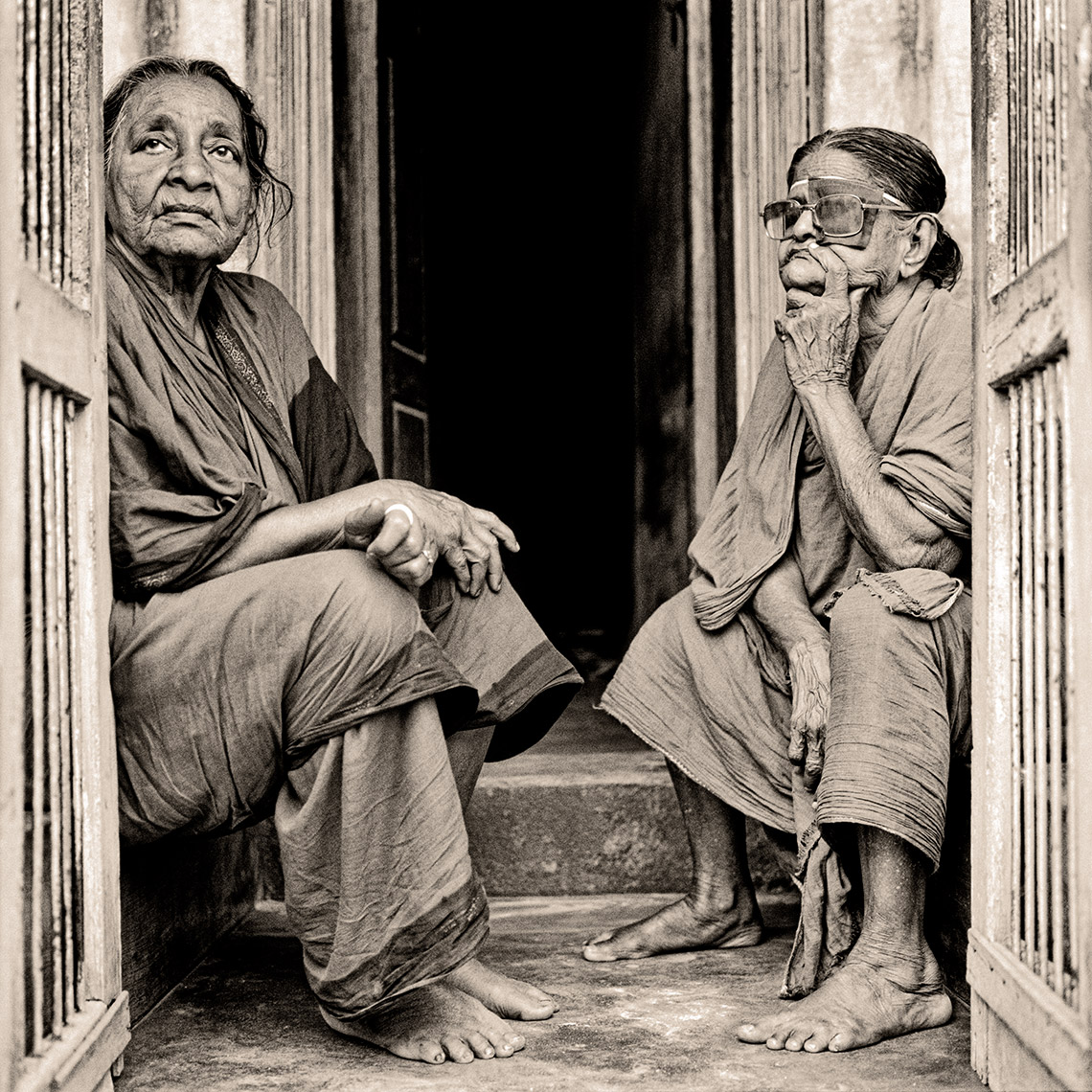 india two women in doorway
